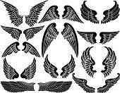 Artificial Wing,Angel,Vector,Heaven,Silhouette,Black Color,Computer Graphic,Feather,Spirituality,Ilustration,Flying,Pair,Fantasy,Set,Design Element,Vector Ornaments,Illustrations And Vector Art