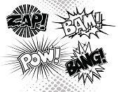 Bang,Single Word,Zapping,Power,Communication,Comic Book,Black And White,Publication,Speech,Thought Bubble,Entertainment,Text,Computer Graphic,Ilustration,Set,Announcement Message,Group of Objects,Vector,Ideas,Isolated-Background Objects,Design,Symbol,Concepts,Message,Arrangement,Illustrations And Vector Art,Concepts And Ideas,Manga Style,Typescript,isolated objects,No People,Design Element,Collection