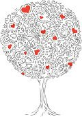 Tree,Angel,Love,Heart Shape,Birthday,Symbol,Holiday,Abstract,Ornate,Vector,Valentine's Day - Holiday,Ilustration,Leaf,Romance,Christmas Decoration,Celebration,Decoration,Elegance,Valentine's Day,Weddings,Holidays And Celebrations,Illustrations And Vector Art