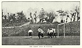 Retro Revival,Old-fashioned,Soccer Field,Soccer,Sheffield - England,Unity,History,Striker,Goal Post,The Football Association,Sporting Position,Male,Nostalgia,Sports Team,Soccer Player,Sports Venue,Image Created 1890-1899,FA Cup,Image Created 19th Century,19th Century Style,Victorian Style,Antique,Ball,Obsolete,Soccer Ball,FIFA,UK,Playing Field,The End,Uefa,Defending,London - England,Sports Event,Ilustration,Team Sport,Athlete,Men,Competitive Sport,Playing,Sheffield United F.C.,Sport,Goalie,The Past,Derby County F.C.,Derby - England,Defense Player,Crystal Palace - Location,Old,England,Goal,Young Men,Engraved Image,Decisions,county
