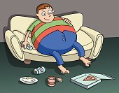 sedentary,Eating,Human Abdomen,Men,Full,Lifestyles,Jeans,Home Interior,Holding,Remote Control,Cruel,Clip Art,Ilustration,Pizza,fatness,Cartoon,Overweight,Sofa,One Person,Cheerful,Waist,Control,Beer - Alcohol,Relaxation,Sitting,Laziness,Couch Potato,Human Hand,Large,Male,Shape,Food,Flooring,Enjoyment,Resting,Excess,Happiness,Vector