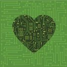 Heart Shape,Circuit Board,Technology,Computer Chip,Digitally Generated Image,Mother Board,Computer,Electronics Industry,Green Color,Valentine's Day - Holiday,Modern,Sparse,Technology,Valentine's Day,Holidays And Celebrations,Computers,Electronics