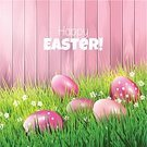 Pink Color,Easter,Design,Vector,Multi Colored,Beauty,Season,Wood - Material,Easter Egg,Backgrounds,Photographic Effects,Eggs,Green Color,Springtime,Greeting Card,Decoration,Event,Grass,Nature,Celebration,Ideas