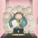 Monkey,Elevator,Office Interior,Ape,Cartoon,Envy,Office Politics,Banana,Lunch Break,Humor,Working,Lunch,Filing Documents,Trapped,Moving Up,Problems,Color Gradient,Ilustration,Hungry,Suit,Office Worker,Occupation,Moving Down,Adversity,Business Concepts,Beige,Illustrations And Vector Art,Business,File,Development,Vector Cartoons,Pastel Colored,Abstract,Pink Color,Stuck Between a Rock and a Hard Place