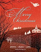 Christmas,Religion,Church,Tree,Landscape,Snowing,Snow,Text,Ilustration,Red,Copy Space,Poster,Hill,Winter,Bare Tree,template,Backgrounds,Vector,Nature,Love,Joy,Dove - Bird,Symbols Of Peace,Peace On Earth,Tranquil Scene,Christianity