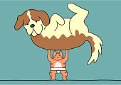 Dog,Domestic Cat,Loss,Muscle Strength,Humor,Drawing - Art Product,Full Length,Tabby,Sparse,Vector,Strength,Power,Sumo Wrestling,Pets,Ilustration,Animal,bipedal,Blue Background,Weightlifting,Heavy,Large,Small,Standing,Picking Up,Overweight,Lightweight,Simplicity,hand drawn,Cute,Winning,Saint Bernard,Surprise,Front View