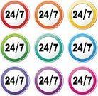 Pink Color,Purple,Green Color,Blue,Red,Orange Color,Yellow,Sign,Circle,Label,Set,Isolated,Number 7,20-24 Years,Colors,Multi Colored,Accessibility,Day,Vector,Service,Time,Backgrounds