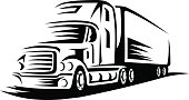 Trucking,Transportation,Mode of Transport,Truck,Freight Transportation,Vector,Heavy,Ilustration,Delivering,Land Vehicle,Cargo Container,Equipment,Symbol,Black Color,Motion,Business,Container,Isolated,White,Carrying,Power,Design,Cartoon,Silhouette,Profile View,Vehicle Trailer,Industry,Service,Engine,Side View,Shipping,Wheel