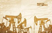 Oil Rig,Old-fashioned,Oil Pump,Backgrounds,Vector,Silhouette,Well,Power Supply,Petroleum,oilfield,1940-1980 Retro-Styled Imagery,Natural Gas,Parchment,Drilling,Art,Abstract,Oil,Textured,Energy,Grunge,Crumpled,Paper,Old,Rustic,Pipe - Tube,Rough,Industry,Car Jack,Dirty,Fuel and Power Generation,Drill,Construction Industry,Machinery