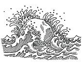 Wave,Black And White,Line Art,Simplicity,Sketch,Horizontal,Sea,Outdoors,Drawing - Art Product,Concepts,Design Element,Waterbreak,Rock - Object,Solid As A Rock,Black Color,Clip Art,Water,hand drawn,black-and-white,Stability,Single Object,No People,Pen And Marker,Ilustration,Isolated On White,Doodle,Vector,Transparent,Solid,Nature,Sayings,Storm,White,Natural Disaster,Symbol