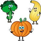 Vegetable,Cartoon,Squash - Vegetable,Food,Characters,Broccoli,Fun,Pumpkin,Humor,Healthy Eating,Vector,Cute,Leaf Vegetable,Clip Art,Smiling,Waving,Ilustration,Healthy Lifestyle,Icon Set,Smiley Face,Food And Drink,Green Color,Multi Colored,Growth,Yellow,Isolated On White,Gourd,Orange Color,Freshness