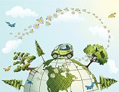 Earth,Car,Globe - Man Made Object,Green Color,Environment,Environmental Conservation,Nature,Planet - Space,Tree,Cartoon,Sketch,Alternative Energy,Drawing - Art Product,Clean,Vector,Driving,Ilustration,Efficiency,Scribble,Concepts,Color Image,hand drawn,Incomplete,Clip Art