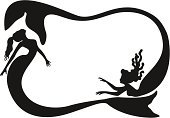 Mermaid,Silhouette,Swimming,Frame,Vector,Black And White,Fantasy,Profile View,Ilustration,Swimming Animal,Copy Space,People,Illustrations And Vector Art,Actions