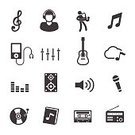 Music,Playing,Sound,Vector,Icon Set,The Media,Cloud - Sky,Microphone,Sign,Speaker,Listening,Monochrome,Treble Clef,Entertainment,Ilustration,Men,Symbol,Musical Note,Singing,Guitar,Black Color,Record,Musical Instrument,Saxophone,Audio Cassette,Volume - Fluid Capacity,White,Headphones,Jazz,Isolated,Stereo,Radio,Electric Mixer,Equipment,Book