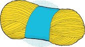 skein,Sewing,String,Thread,Yellow,Vector,No People,Material,Bundle,Single Object,Clip Art,Halftone Pattern,Knitting,Ilustration,Wool