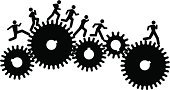 Gear,Running,Stick Figure,Efficiency,People,Organization,Teamwork,Connection,Silhouette,Black Color,Ilustration,Concepts,In A Row,Information Symbol