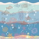 Backgrounds,Wave,Underwater,Abstract,Summer,Animal,Nature,Water,Ilustration,Pattern,Fish,Life,Vector,Sea,Cute,Bubble