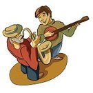 Banjo,Hat,Jazz,Saxophone,Brent Celek,Fun,Music,Musician,Cultures,Single Object,Beard,Blowing,Smiling,Game Two,Work Tool,Square,Vector,Image,Human Face