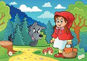 Little Red Riding Hood,Vector,Wolf,Animal,Basket,Outdoors,Forest,Eps10,Art,Ilustration,Ribbon,Footpath,Clothing,Fairy Tale,Drawing - Art Product,Design,Little Girls,Child,Costume,Characters,One Person,Cape