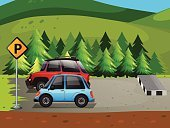 Pine Tree,Parking Lot,Clip Art,Land Vehicle,Wheel,Nature,Vector,Car,Transportation,Grass,Scenics,Computer Graphic,Outdoors,Hill,Tree,National Park
