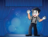 One Person,Men,Performing Arts Event,Performance,Comedian,Performer,Mime,Hat,Art,Eps10,Ilustration,Smiling,Stage Make-up,Gesturing,Theatrical Performance,Cap,Glove,Joy,Happiness,Design,Drawing - Art Product,Costume,Stage Costume,Curtain,Catwalk - Stage,Artist,Creativity,Clothing,Vector