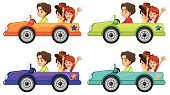 Sports Car,Transportation,Land Vehicle,Purple,Blue,Vector,Wheel,Convertible,People,Clip Art,Computer Graphic,White Background,Series,Little Boys,Collection,Car