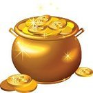 Gold,St. Patrick's Day,Currency,Gold Colored,Cooking Pan,Luxury,Prosperity,Holiday,Shiny,Ilustration,Vector,Luck,Concepts,Finance,Silver - Metal,Isolated,Making Money,Symbol,patrick,Coin,Abundance,Wealth,Silver Colored,Success