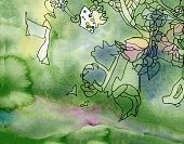 Backgrounds,Nature,Art Nouveau,Multi Colored,Spotted,Pastel Colored,Forest,Ink,New,Abstract,Fantasy,Individuality,Backdrop