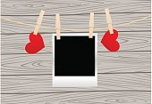 Imitation,White,Old,Hanging,Blank,Greeting Card,Vector,Red,String,Wood - Material,Love,Valentine Card,Photograph,Heart Shape,Black Color,Romance,Valentine's Day - Holiday,Backgrounds,Clothesline,Picture Frame,Clothespin,Ilustration