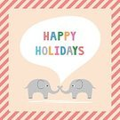 Greeting Card,Decoration,Ornate,Holiday,Ilustration,Vector,Animals In The Wild,Ideas,Romance,Christmas,Celebration,Design,Two Parents,Cute,Togetherness,Mammal,Cartoon,Elephant,Greeting,Happiness,Season,Animal,Winter