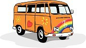 Bus,Hippie,1960s Style,Van - Vehicle,Mini Van,Symbols Of Peace,Colors,Retro Revival,Fun,Computer Graphic,Old,Paint,Camping,Vector,Mode of Transport,Land Vehicle,Freedom,Flower,Cheerful,Travel,Vacations,Love,Orange Color,Ilustration,Summer,Cartoon,1970s Style,Multi Colored,Transportation,Design,Old-fashioned,Car,American Culture