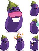Cartoon,Computer Graphic,Emotion,Isolated On White,Isolated,Clip Art,Emoticon,Facial Expression,Shock,Dizzy,Refreshment,Sunglasses,Label,kawaii,Ilustration,Vector,chibi,Cute,Cool,Sweat,Surprise,Anthropomorphic,Eggplant,Purple,Mascot,Food,Healthy Eating,Vegetable,Characters