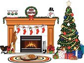Shiba Inu,Rug,Christmas Stocking,Fireplace,Christmas,Humor,Winter,Celebration,Greeting Card,Season,Greeting,Vibrant Color,Floor Mat,Ilustration,Christmas Decoration,Home Interior,Indoors,Joy,Dog,Domestic Room,Cultures,Christmas Ornament,Multi Colored,Garland,Gift,Tree,Domestic Cat,Fire - Natural Phenomenon,Decoration,Holiday,Pets