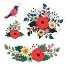 Bird,Holiday,Flower,Bouquet,Beauty,Decoration,Nature,Blossom,Ornate,Branch,Clip Art,Wreath,Seed,Season,Decor,Composition,Invitation,Greeting,Characters,Collection,Set,Art,Wealth,Ilustration,Celebration,Rose - Flower,Botany,Design Element,Leaf
