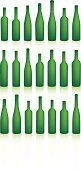 Wine Bottle,Bottle,Green Color,In A Row,Alcohol,Empty,Industry,Package,Ilustration,Vector,Isolated,Shadow,Clean,Vibrant Color,Isolated On White,Illustrations And Vector Art,Isolated-Background Objects,Objects/Equipment,Isolated Objects,Household Objects/Equipment