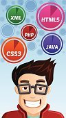 Computer Programmer,Nerd,Java,Internet,Computer Icon,coder,Cute,Writing,Css3,Computer Software,analyst,Engineer,Fun,Occupation,Circle,Gamer,Cheerful,Cartoon,Illustrations And Vector Art,Humor,Happiness,Positive Emotion,Blue,Carefree,Smiling,Hovering,Vector,Software Engineer,Symbol,Laughing,Html5,Coding,Computer,Turquoise,Expertise,Mobile Phone,Service,php,Men,Technology,Education,People,Joy,Bubble,Caucasian Ethnicity,Extensible Markup Language,One Person,Looking