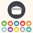 Cooking,Computer Graphic,Symbol,Label,Sign,Stove,Token,Equipment,Shape,template,Backgrounds,Multi Colored,Application Software,Creativity,Casserole,Kitchen Utensil,Yellow,Ilustration,Blue,Red,Circle,Vector,Boiling,Heat - Temperature,Food,Saucepan,Stew,Soup