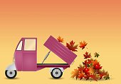 Outdoors,Nature,Decoration,Postcard,Ilustration,Heap,Season,Transportation,Carrying,Leaf,Autumn
