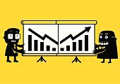 Finance,Two-dimensional Shape,Success,Business,Concepts,Businessman,Senior Adult,Bar Graph,Computer Graphic,Business Person,Clip Art,Recession,Flat,Moving Down,Arrow Symbol,Loss,Cartoon,Ilustration,Yellow,Recovery,Men,Strategy,Plan,Manager,Presentation,Black Color,Chart,Planning,Flipchart,Progress,Improvement,Making Money,Vector,Nerd,Projection Screen,Partnership,Moving Up