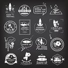Surfing,Sign,Surf,Surfboard,Tropical Climate,Human Skull,Shark,Retro Revival,Badge,Symbol,Label,Postage Stamp,Summer,Computer Icon,Silhouette,Old-fashioned,Vector,Set,Design,Water,Ribbon,Print,Banner,Ilustration,Part Of,Insignia,Isolated
