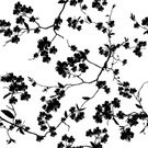 Pattern,Leaf,Black And White,Chinese Culture,Backgrounds,Blossoming,Seamless,Cherry Blossom,Flower,Blossom,Flower Head,Japanese Culture,Springtime,florescence,Vector,Computer Graphic,Ilustration,Blowing,White,East Asian Culture,Nature,Branch,Season,Black Color