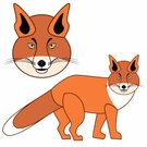 Set,Exoticism,Isolated,Design Element,Abstract,Ilustration,Vector,Animal,Wildlife,Fox