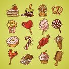 Sketch,Candy,Picnic,Birthday,Ice Cream,Drawing - Activity,Store,Donut,Concepts,Ice,Chocolate,Honey,Design,Ilustration,Set,Collection,Computer Icon,Ornate,Cake,Cream,Layered,Cherry,Colors,Dessert,School Carnival,Caramel,Pastry,Insignia,Design Element,Icon Set,Single Object,Symbol,Doodle,Cookie,Popcorn,Vacations,Food,Cupcake,Vector,Isolated,Croissant,Sugar