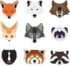 Red Panda,Animal Head,Mascot,Animal,Animals In The Wild,Zoo,Wildlife,Set,Drawing - Art Product,Ferret,Skunk,Pets,Ilustration,Fox,White,Raccoon,Fennec Fox,Snow,Brown,Mammal,Wolf,Gray,Vector