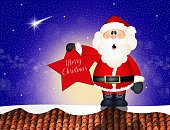 Santa Claus,Roof,Snow,Christmas,Winter,Frost,Celebration,Snowflake,Night,Fun,winter landscape,Event