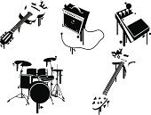 Drum,Amplifier,Guitar,Musical Instrument,Music,Graffiti,Vector,City Life,Distorted,Urban Scene,Black Color,Dancing,Bass,Paint,Drop,Ilustration,Sound,Arts And Entertainment,Music,Lifestyle,Illustrations And Vector Art,Party - Social Event,Ink