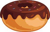 Isolated On White,Isolated,Computer Graphic,No Gradients,Bakery,Solid Colors,Clip Art,Ilustration,Sweet Food,Chocolate,Dessert,Food,Vector,Cartoon,Donut