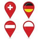 Travel,Flag,Poland,Pointer,Switzerland,Globe - Man Made Object,Business Travel,World Map,German Culture,Swiss Culture,Global,Arranging,Computer Icon,Pointing,Journey,Acute Angle,Symbol,Aiming,Earth,Global Communications,Germany,Geographical Locations,Polishing,Navigational Equipment,Austrian Currency,Austria,Circle,Physical Geography,Cartography,Vector,National Landmark,Ilustration,German Music,Tag,Label,Sign,Concepts,Global Business,Campaign Button,Red,Finance,Set,Straight Pin,Ideas,Inspiration,Direction,Polish Culture,Internet,Austrian Culture,Icon Set,Country - Geographic Area,continent,Map,nation,Design