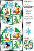 Christmas,Leisure Games,Puzzle,Number 7,Variation,Postage Stamp,Discovery,Sock,Fir Tree,Relaxation,Sport,Ilustration,Activity,Hobbies,Snowflake,Leisure Activity,Child,Penguin,Enjoyment,Recreational Pursuit,Entertainment,Education,Vector,Fun,Mystery,Ice Skate,Skating,Ice-skating,Winter,Holiday,Gift