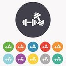 Dumbbell,Symbol,Badge,Vector,Computer Graphic,Shape,Creativity,Application Software,Backgrounds,Circle,template,Multi Colored,Token,Ilustration,Sign,Geometric Shape,Yellow,Blue,Red,Sport,Picking Up,Equipment,sporting,Exercising,Barbell,Label